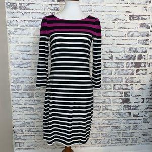 White House Black Market Dress Stripes 3/4 Sleeve